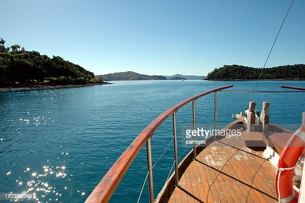 Whitsunday Islands over boat deck with blue sky glistening ocean