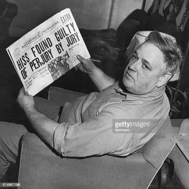 Whittaker Chambers former $30000ayear editor of a national magazine and prime accuser of Alger Hiss is shown reading the headline that told of the...