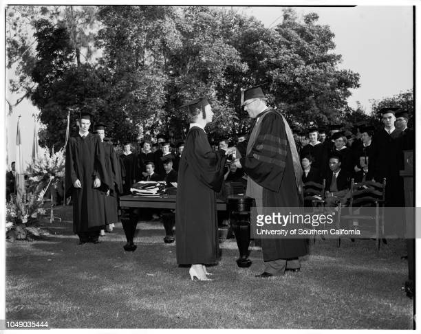 Whittier College graduates, 7 June 1952. Charles W Cooper;Robert Lucian Smith ;Doctor Paul S Smith;Robert Russell Smith.;Caption slip reads:...