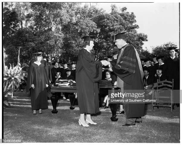 Whittier College graduates 7 June 1952 Charles W CooperRobert Lucian Smith Doctor Paul S SmithRobert Russell SmithCaption slip reads 'Photographer...
