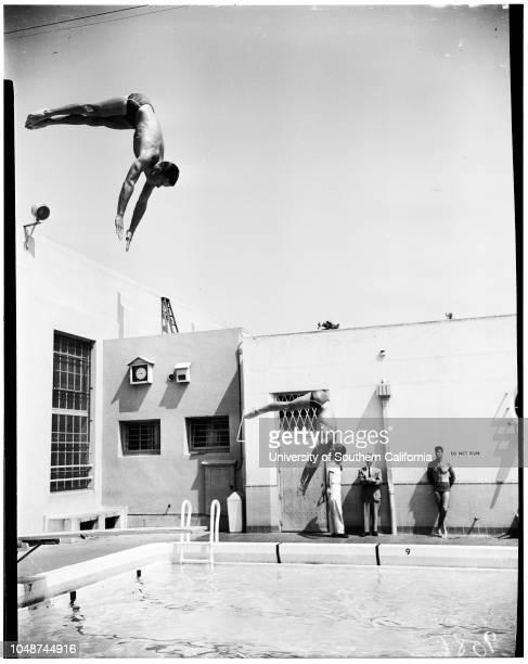 Whittier High School swimming meet 2 April 1952 Harold ReidJack McNessCharles ChapmanCharles HollowayDennis CaseyJerry HamiltonBrian StuartFred...