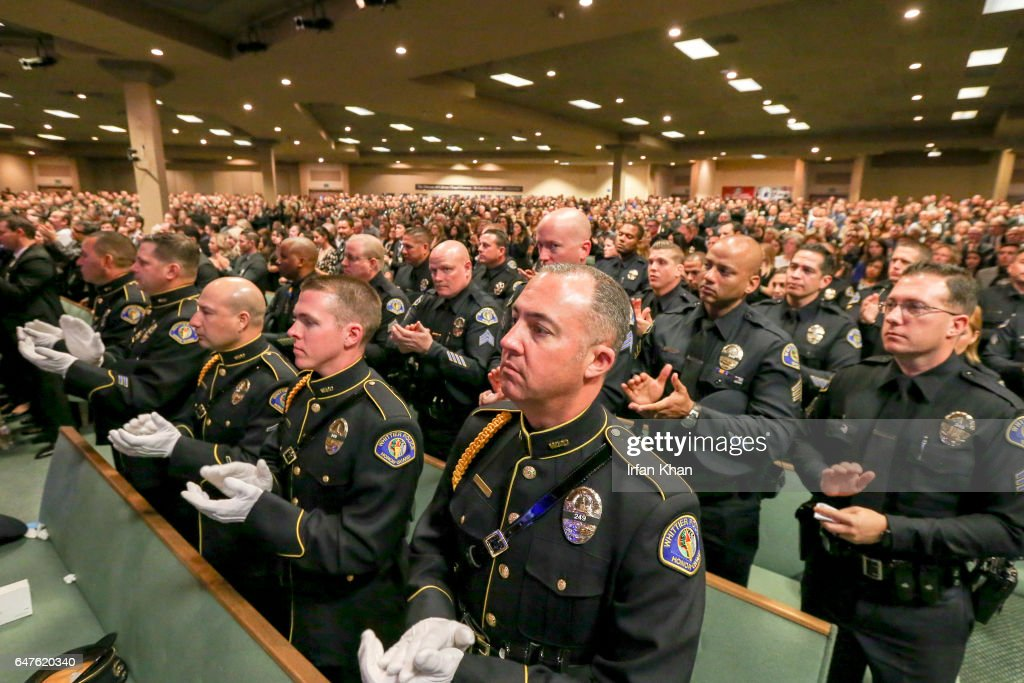 Whittier police officers pay respect at the funeral services