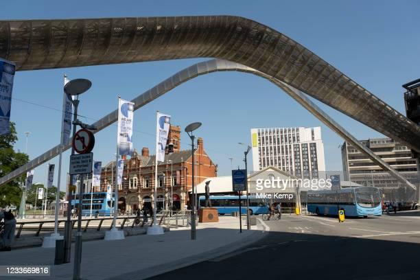 Whittle Arch in Coventry City Centre in the UK City of Culture 2021 on 23rd June 2021 in Coventry, United Kingdom. The Whittle Arch is a public art...