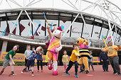 london england whizbee bee mascot for