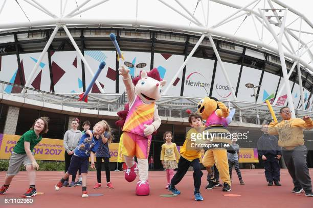Whizbee the Bee mascot for the World Para Athletics Championships and Hero the Hedgehog mascot for the IAAF World Championships London 2017 take part...
