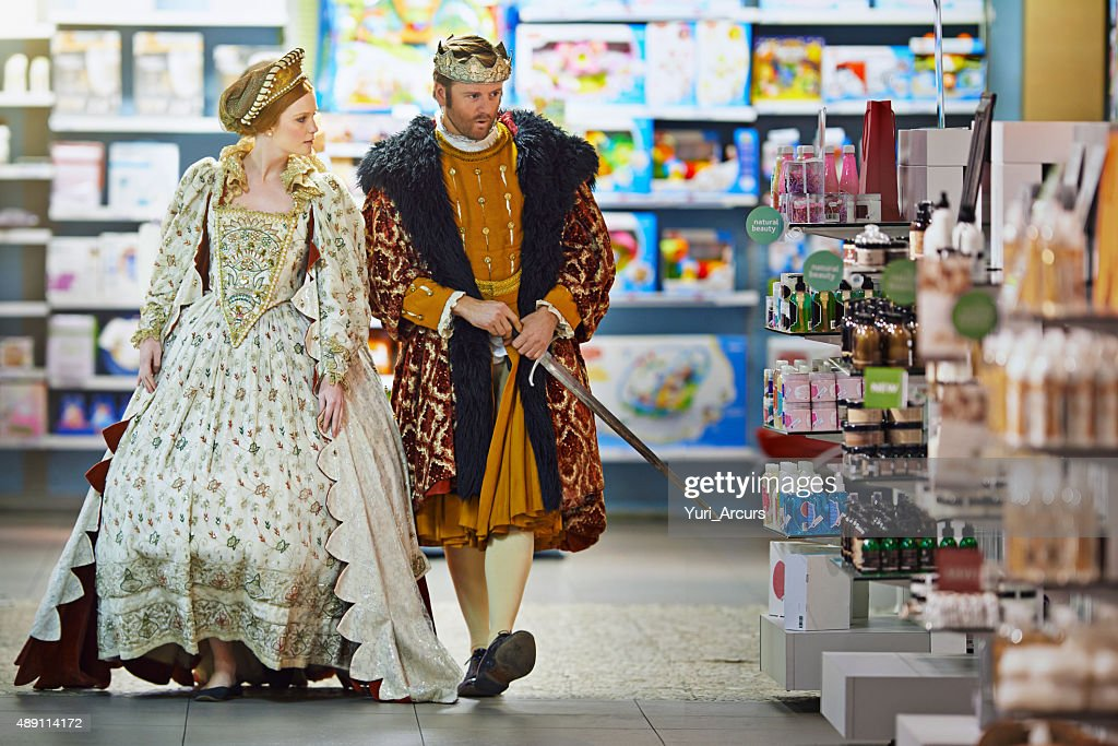Who knows what danger may lurk between these aisles m'lady : Stock Photo