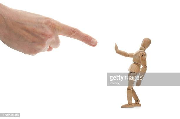 who? me? wooden mannequin and hand of .... god? - scolding stock pictures, royalty-free photos & images