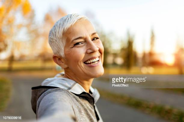 who said selfies are just for the youth? - white hair stock pictures, royalty-free photos & images
