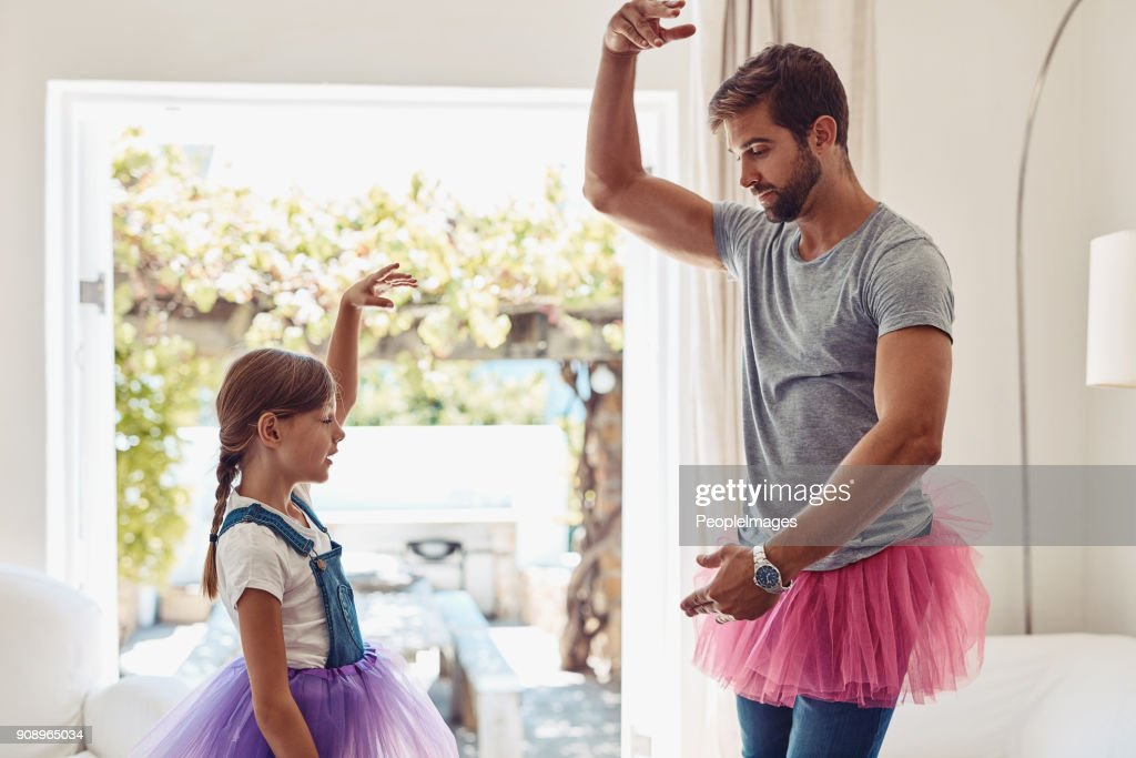 Who says dads can't dance? : Stock Photo