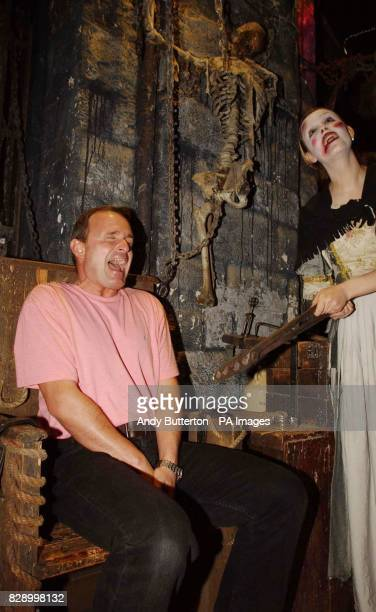 Who Wants To Be a Millionaire cheat Major Charles Ingram shown a demonstration of an castration instrument at the London Dungeon central London...