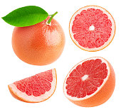Whole and cut grapefruits collection isolated on white