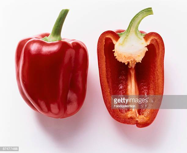 Whole and Half of a Red Bell Pepper