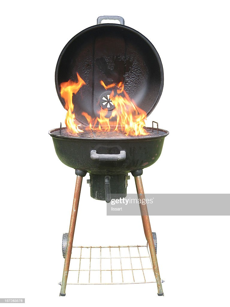 Whole Charcoal Grill with Flames : Stock Photo