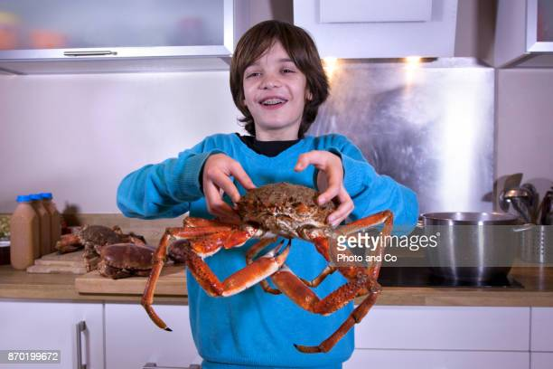 Whole cooked spider grab, portrait of boy