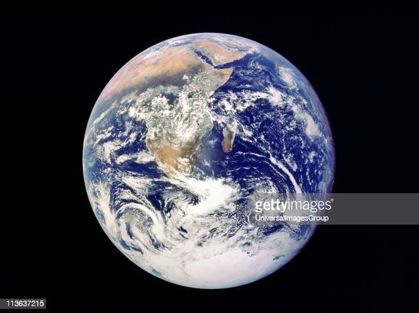 Whole Earth from space view from Apollo 17 December 1972 First photograph of south polar ice cap Most of Africa visible also Arabian Peninsular and...