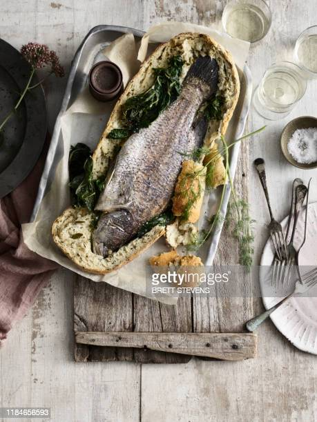 whole fish baked in bread - whitewashed stock pictures, royalty-free photos & images