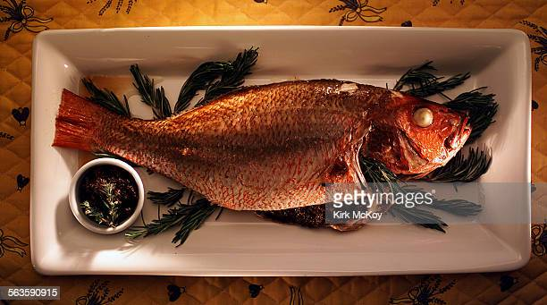 Whole fish with Tapenade Tabble runner from Lavender Blue Los Angeles