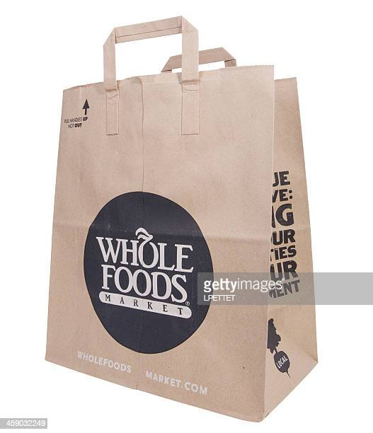 whole food grocery bag - whole foods market stock pictures, royalty-free photos & images
