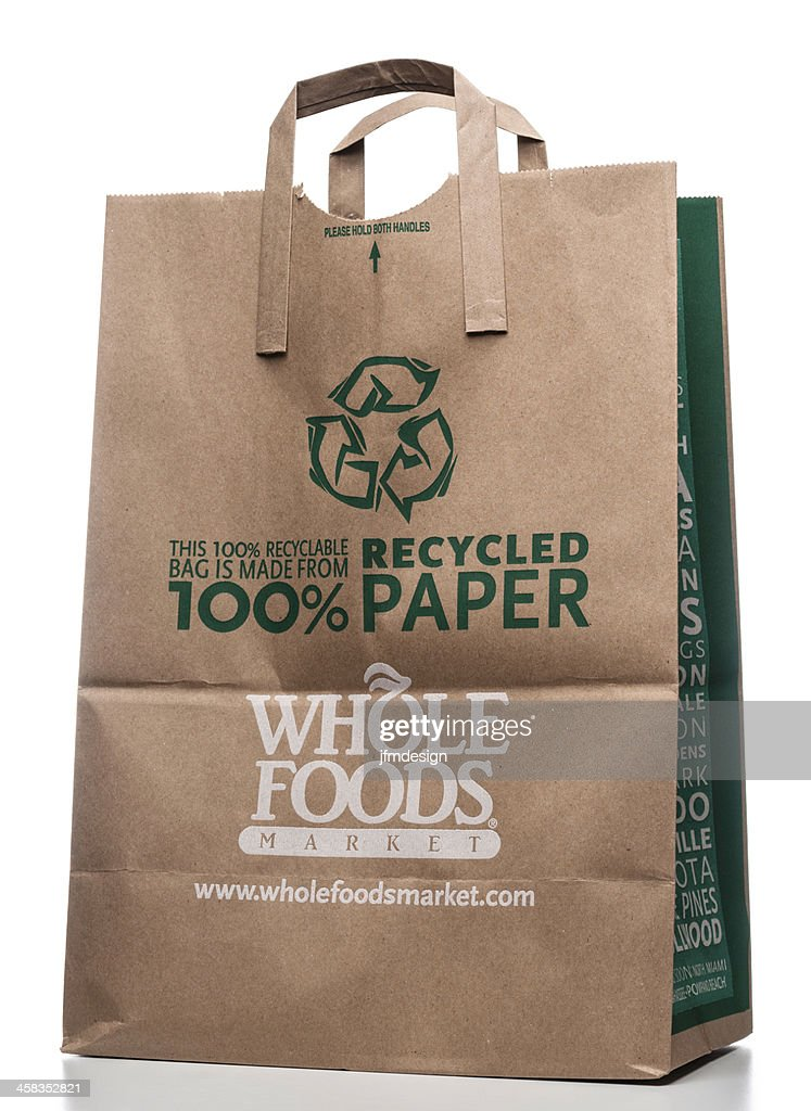 Whole Foods Market Recycled Paper Bag High Res Stock Photo