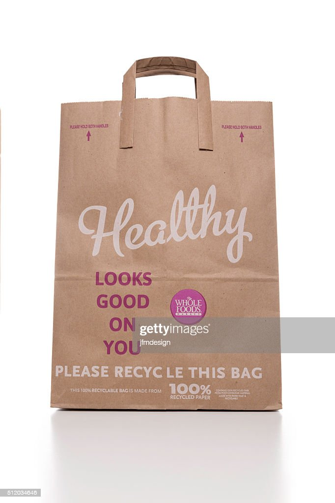 Whole Foods Recycled Paper Bag Stock Photo