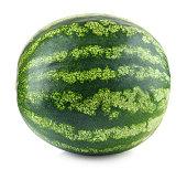 Whole fresh watermelon isolated on white