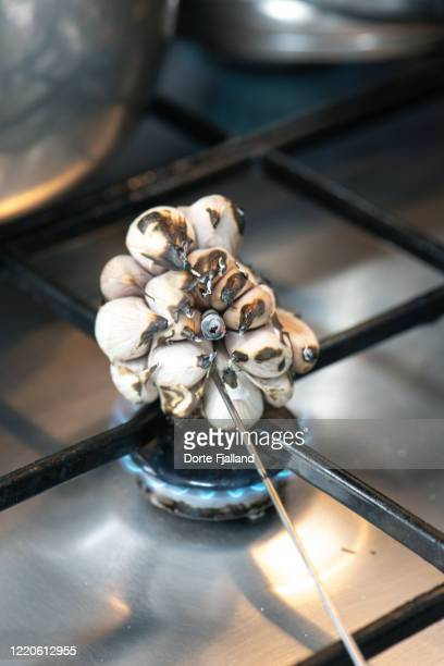 a whole garlic being burned over a gas burner - dorte fjalland stock pictures, royalty-free photos & images