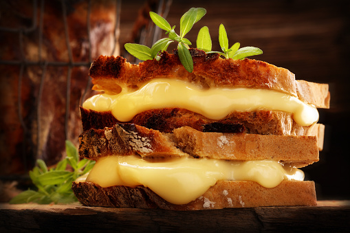Whole grain bread sandwich with cheese and hrbs 1063748578