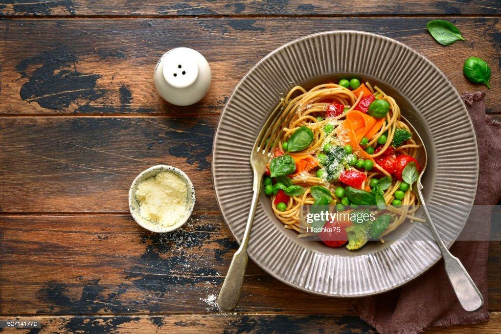 Whole grain pasta primavera : Stock Photo