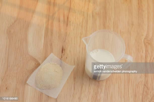 Whole milk and gelatin powder.