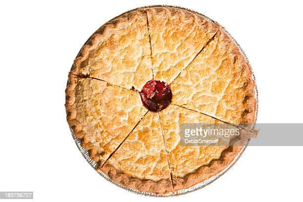 Whole Overhead Sliced Cherry Pie Isolated