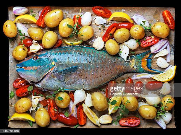 Whole parrot fish ready for the oven
