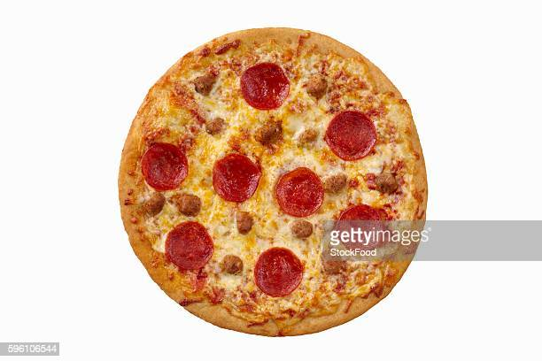 Whole Pepperoni and Sausage Pizza on a White Background; From Above