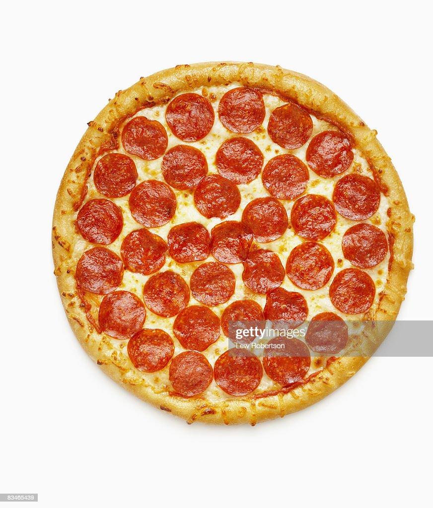 Whole Pepperoni Pizza : Stock Photo