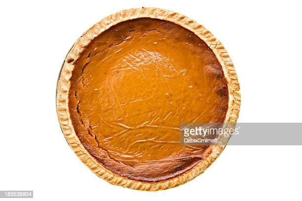 Whole Pumpkin Pie Overhead Isolated