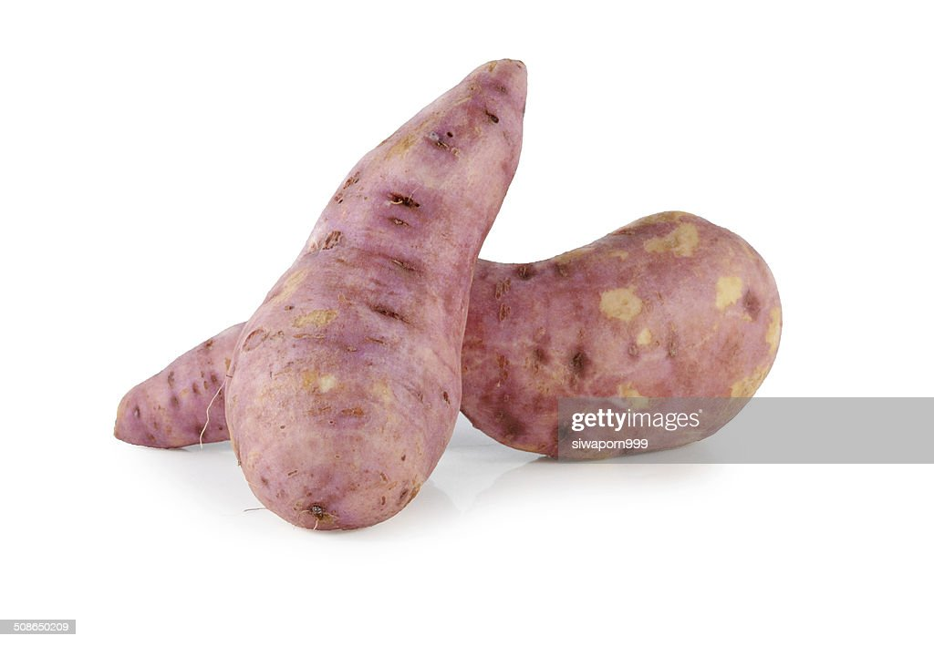 Whole purple yams photographed on a white background. : Stock Photo