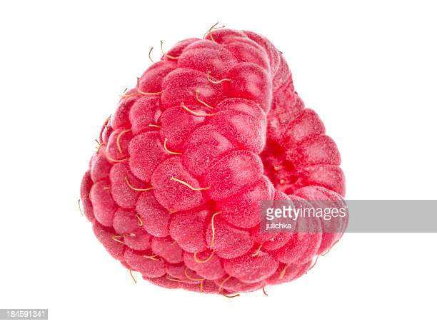 A whole raspberry on a white background