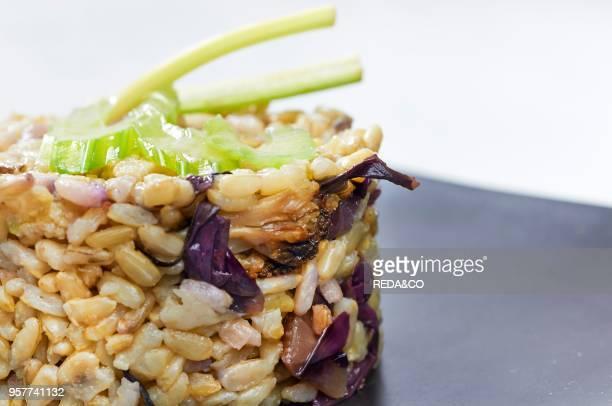 Whole Rice with Roasted Cauliflower and Sauted Radicchio