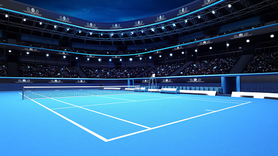 whole tennis court from the perspective of the player 1061697606