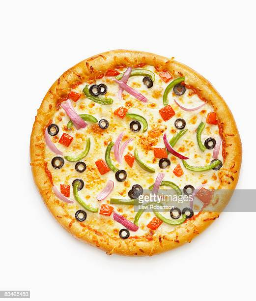 whole veggie pizza - vegetarian pizza stock pictures, royalty-free photos & images