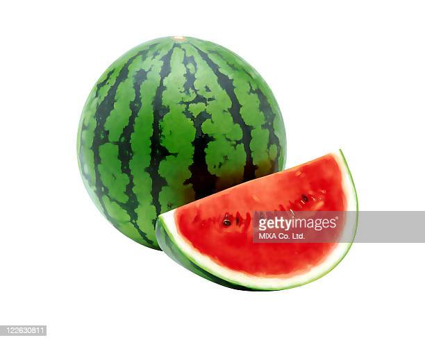 Whole watermelon and slice of watermelon