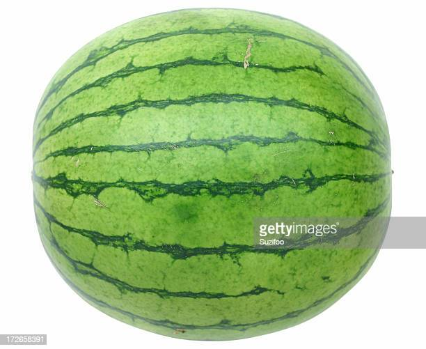 Whole watermelon on white background