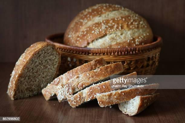 100% Whole Wheat Italian Rustic Bread. Sliced