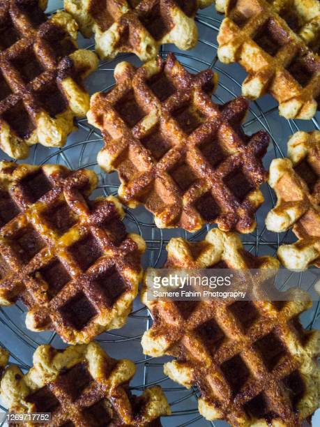 whole wheat liege waffles - liege stock pictures, royalty-free photos & images