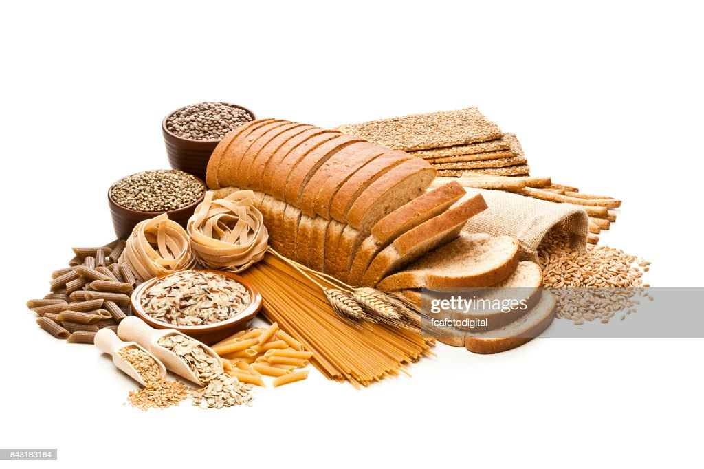 Wholegrain and dietary fiber food on white background : Stock Photo