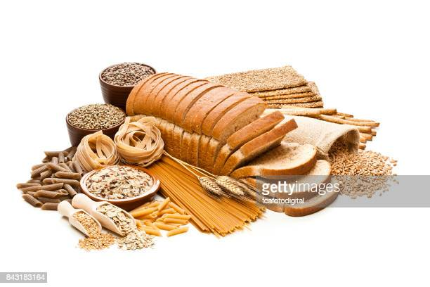 Wholegrain and dietary fiber food on white background