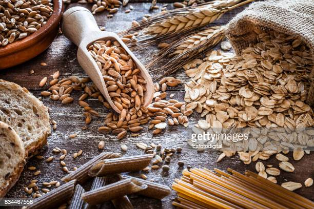 wholegrain food still life - cereal plant stock pictures, royalty-free photos & images