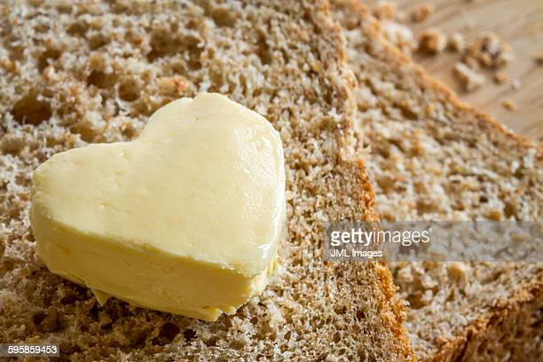 Wholemeal bread with butter heart