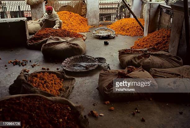 Wholesale flower market Chandni Chowk Delhi India