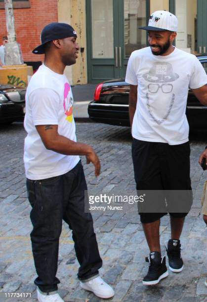 Whoo Kid and New York Red Bulls soccer player Thierry Henry seen on the streets of Manhattan on June 30, 2011 in New York City.