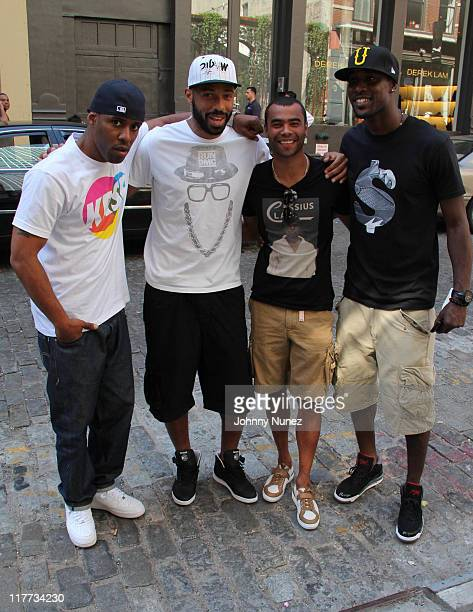 DJ Whoo Kid New York Red Bulls Thierry Henry Chelsea's Ashley Cole and West Ham United's Carlton Cole seen on the streets of Manhattan on June 30...